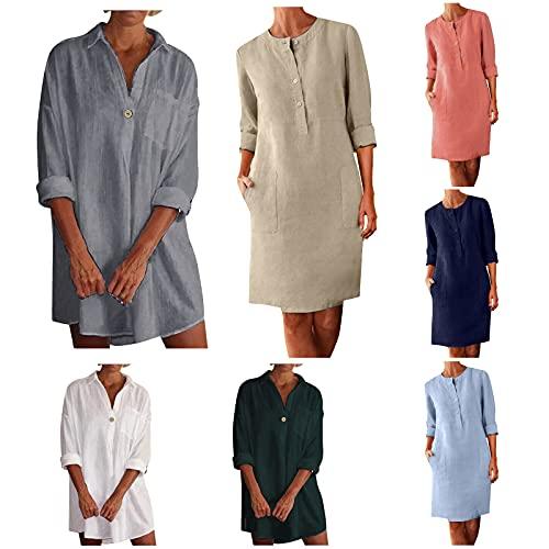 JPLZi Women's Cotton Linen Dresses Buttons Long Sleeve V-Neck/O -Neck Casual Midi Dress with Pockets Summer Beach Boho Dress(V Neck White,X-Large)