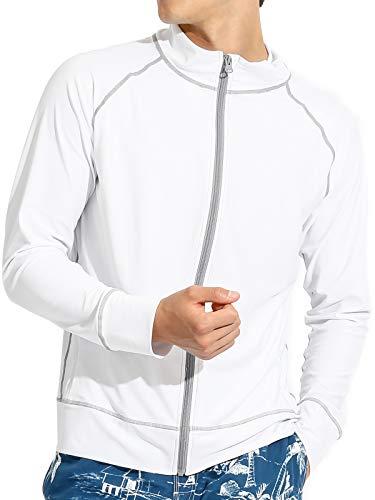 Actleis Men's Long Sleeve Zip Rash Guard, UPF50+ UV Sun Protection Quick Dry Swimming Running Fising Shirts us-al20002 XL White