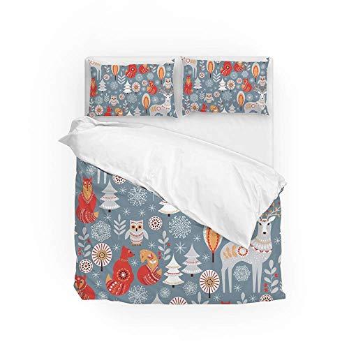 Soft Quilt Bedding Set Forest Deer Owl Fox Duvet Cover with Pillowcases Set 2 PCS 155 x 220 CM, Full Size