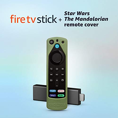 Fire TV Stick (3rd Gen) with Alexa Voice Remote (includes TV controls) + Star Wars The Mandalorian remote cover (Grogu…