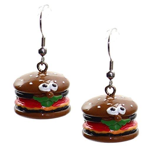 budawi® - Ohrring Paar Hamburger mit Gesicht, Ohrstecker Burger, Motiv Ohrhänger
