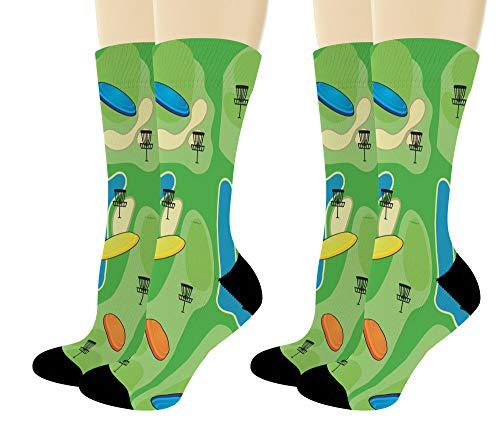 Sports Gift Set Disc Golf Course Socks Lucky Socks Disc Golf Themed Gifts 2-Pair Novelty Crew Socks