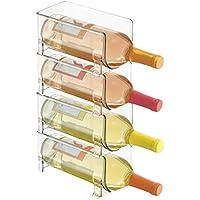 mDesign Soporte para botellas de vino apilable – Botellero para vinos con capacidad para 4 botellas – El accesorio de cocina imprescindible – transparente