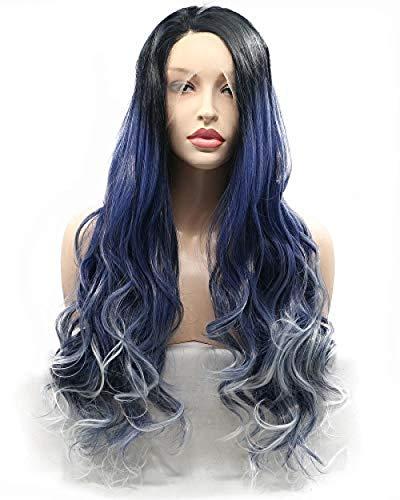 perruque Drag Queen Mesdames Perruque avec racines noires Ombre Saphir Bleu avec Blanc Blond Longue Dentelle Synthétique Cheveux Ondulés pour Cosplay Party Bleu