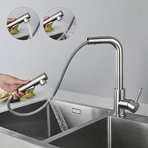 CECIPA Hochdruck Wasserhahn Küche Ausziehbar, Küchenarmatur mit Brause Zwei Wasserstrahlarten, Einhebel Spültischarmatur 360° Schwenkbar, Mischbatterie Küche Edelstahl Gebürstet
