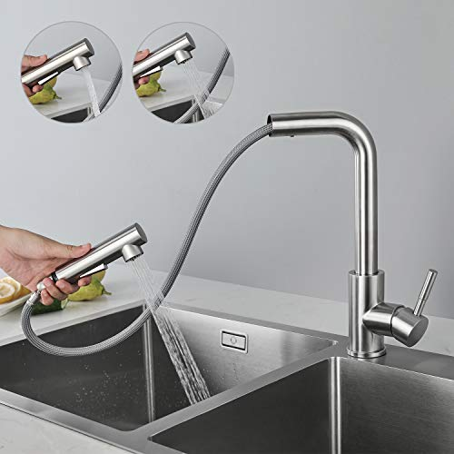 CECIPA Wasserhahn Küche Ausziehbar, Küchenarmatur mit Brause Zwei Wasserstrahlarten, Einhebel Spültischarmatur 360° Schwenkbar, Mischbatterie Küche Edelstahl Gebürstet Hochdruck