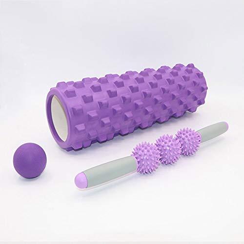 L-ANMO Fitness Roller Foam, Yoga EVO Schaumstoffrollen-Bundle-Kit Für Muskel-Tiefenmassage Für Ober- Und Unterkörper, 45 × 14 cm,Lila