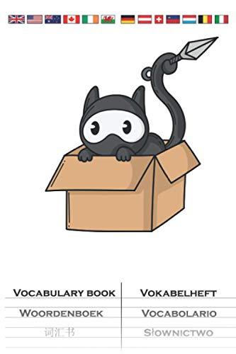 Ninja Katze im Karton Vokabelheft: Vokabelbuch mit 2 Spalten für Fans der leisen Spione Japans