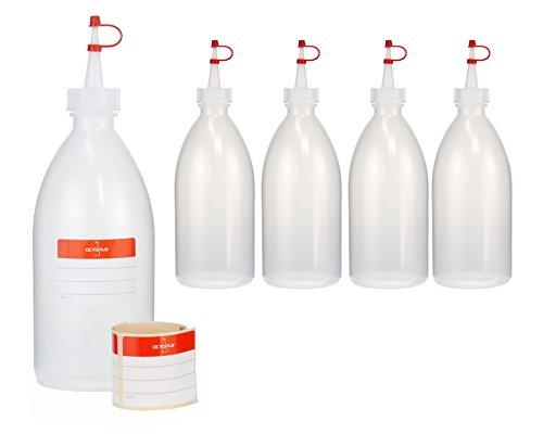 Octopus 5 x 500 ml Quetschflaschen, Spritzflaschen aus LDPE mit Tropfverschluss, Garnierflaschen, Dekorationsflasche für Küche, Hobby oder Labor