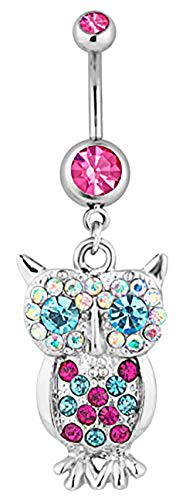 Surgical Steel Jeweled Pink Pave Gem Owl Animal Dangle Belly Button Ring
