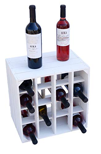 Kistenkolli Altes Land Botellero 16ER blanco tamaños 40 x 40 x 27 cm, estante para botellas de vino o caja de vino – Flamed, 1er set Weinregal 16er Weiss
