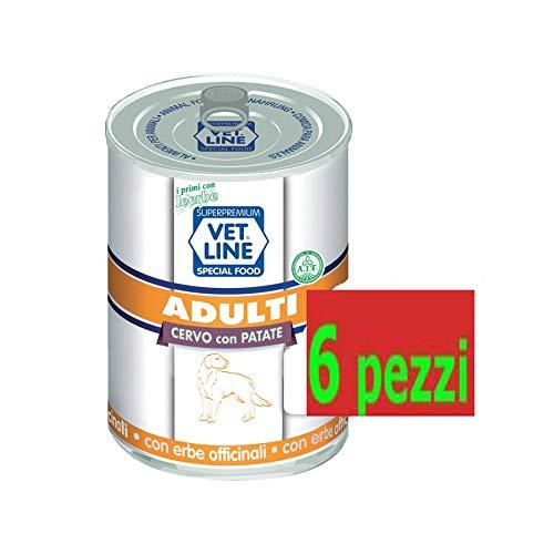 vet line Cibo Umido per Cani Adulti Cervo con Patate 6 scatolette da 400 g con Erbe Certificate No glutine