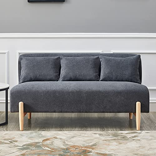 OFCASA 3 Seaters Sofa Grey Fabric Upholstered Padded 2 Pillow Double Seat Couch Wooden Legs for Corner Living Room Bedroom Lounge 140cm