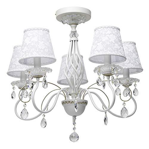 Eleganter Kronleuchter Metall weiße Stoffschirme 5 flammig Kristall klar Schlafzimmer exkl.5 * 40W E14