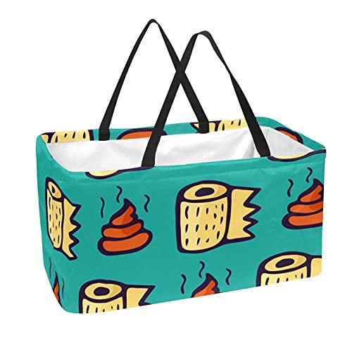 Sacchetti riutilizzabili per la spesa, 50 l, con supporto a colonna e sacchetto di immagazzinaggio, divertente