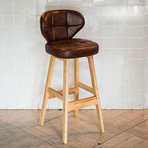 L.BAN Barhocker Bistrostuhl Holz Kunstleder Bistrohocker mit Rückenlehne, Beine aus Massivholz, Antirutschgummi, dick gepolsterte Sitzfläche aus Kunstleder