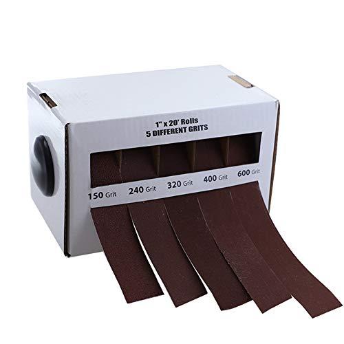DingGreat 6 Meter Schleifpapier-Rolle, 150/240/320/400/600 Grit Schleifpapier 5 Rollen Schleifband Drawable Schleifpapier Trockenpolieren Schleifwerkzeuge für Metall Holzverarbeitung