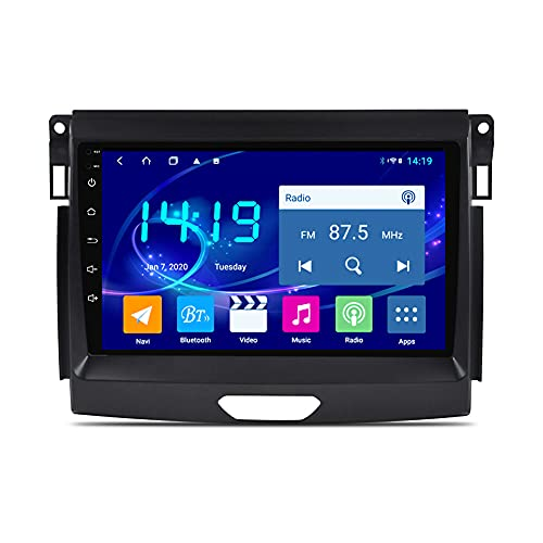 Kilcvt Android 10 4g + 64gb ROM Car Stereo Auto Radio DVD Video Navegación GPS, para Ford Ranger 2015-2018 Soporte Control del Volante/WiFi/BT/Multimedia/Mirror Link