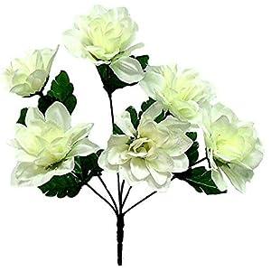 1 Bouquet of 6 Dahlia Wedding Bouquet Fake Faux Artificial Silk Flowers Cream/Ivory