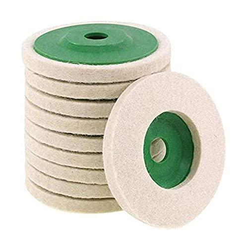 LIZHOUMIL 10 discos de pulido de lana de 100 mm para amoladora angular, herramienta giratoria, color blanco