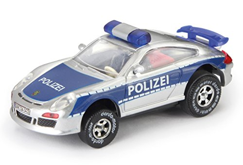 Darda 50341 Auto Porsche GT3 Polizei blau/silber, Rennauto mit auswechselbaren Rückzugsmotor, Fahrzeug mit Motor zum Aufziehen für Kinder ab 5 Jahre, Aufziehauto Rennbahnen, Single