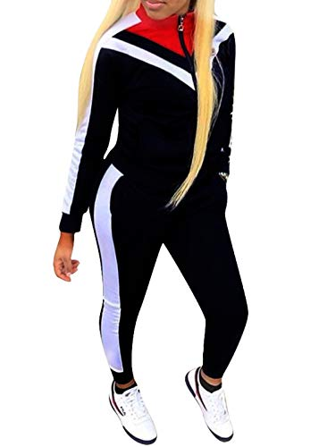 Womens Color Block Tracksuit 2 Piece Outfits, Casual Long Sleeve Full Zip Jacket and Pants Sport Set Sweatsuits (Black, S)