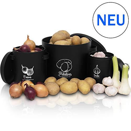 Earlwood *NEU* Vorratsbehälter Set mit Deckel - Ideal als Kartoffeltopf, Zwiebeltopf und Knoblauchtopf geeignet - Hält Dein Gemüse länger Frisch und überzeugt durch hochwertige Qualität