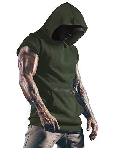 Camiseta de gimnasio para hombre con capucha, sin mangas, camiseta superior para hombre con bolsillos Army Green M
