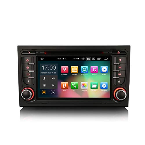 ERISIN 7 Zoll Android 10.0 Autoradio für Audi A4 S4 RS4 RNS-E Seat Exeo Unterstützt GPS-Navi Carplay Android Auto DSP Bluetooth A2DP DVB-T/T2 WiFi DAB+ 8-Kern 4GB RAM+64GB ROM