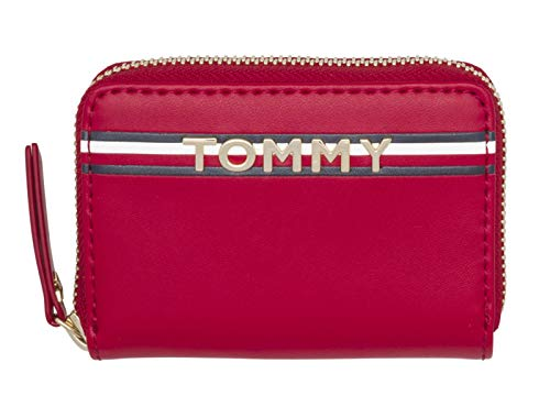 Tommy Hilfiger Corp Leather Mini Zip Around Wallet Tommy Red