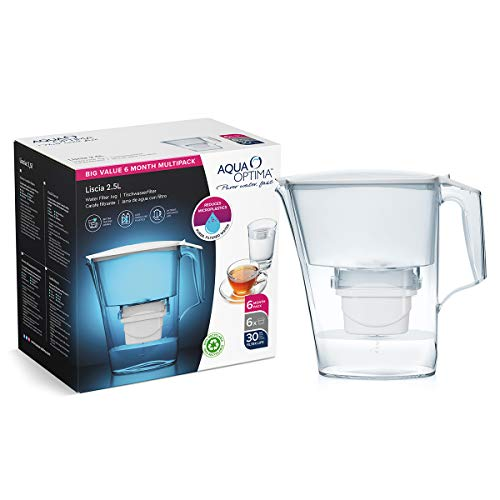 Aqua Optima Liscia Wasserfilterkanne, weiß, 2.5L itres, with 6, up to 30 Day Filters (6 Month Pack)