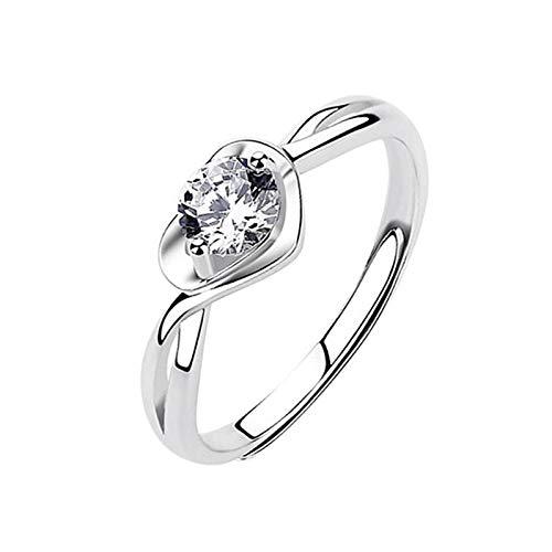 minjiSF Anillo de diamante con forma de corazón para mujer, brillante, anillo clásico, anillo de compromiso, anillo de boda, anillo de recuerdo, anillo de joyería, anillo apilable (oro blanco)