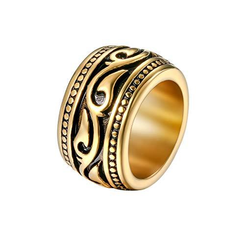 Flongo Anillo de Compromiso para Hombre, Anillo de Sello Grande Celta Celtico Anillo Irlandés Vikingos, Amuleto Anillo de Acero Inoxidable, Color Dorado Plateado, Talla Grande