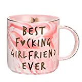 Girlfriend Birthday, Anniversary, Romantic Gift - Best Girlfriend Ever - Funny Cute Couple Birthday Gifts Ideas for Girlfriend, Her, Couples - Pink Marble Mug, Ceramic 11.5oz Coffee Cup