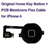 Ricambio sostituzione part pulsante tasto key home e membrana flat per iPhone 4 Nero