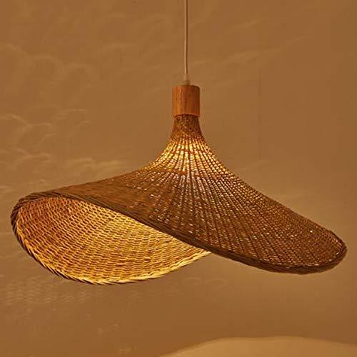 Lámpara Colgante De Bambú Para Tejer Lámpara De Mimbre Lámpara Colgante Tejida A Mano De Ratán Estilo Natural Forma De Sombrero Lámparas E27 Para Dormitorio Comedor Sala De Estar Cocina,60cm