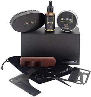 Mark & Stone Beard Grooming Kit | 8pcs | Beard Balm, Beard Oil, Beard Brush, Beard Comb, Stainless Steel Trimming Scissors, Beard Shaper, Storage Bag and Multifunctional Beard Utility | Beard Care Gift Set