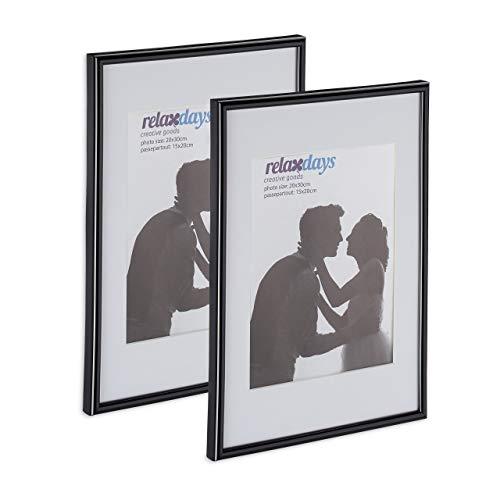 Relaxdays Bilderrahmen 2er Set, 20x30 cm, Passepartout 15x20 cm, Glasscheibe, Fotorahmen zum Stellen & Hängen, schwarz