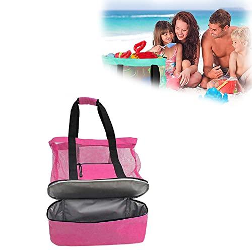 Ladies Mesh Beach Tote, Picnic Bag Mesh Refridgerator, 2 In 1 Design...