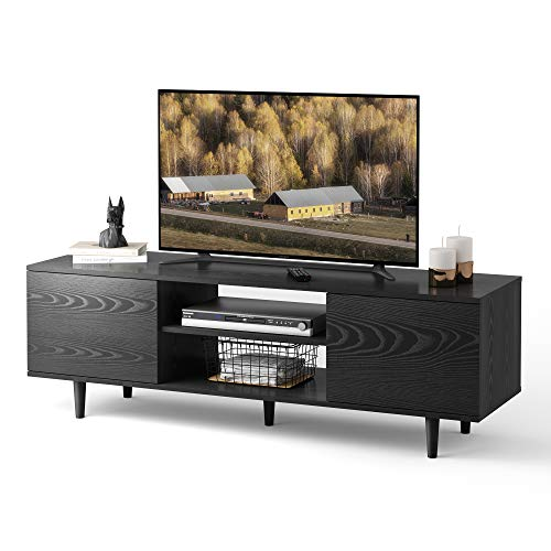 WLIVE Mid-Century TV Stand for TVs up to 45', Modern Entertainment Center, Media Storage Console Table with Cabinet and Shelves for Living Room