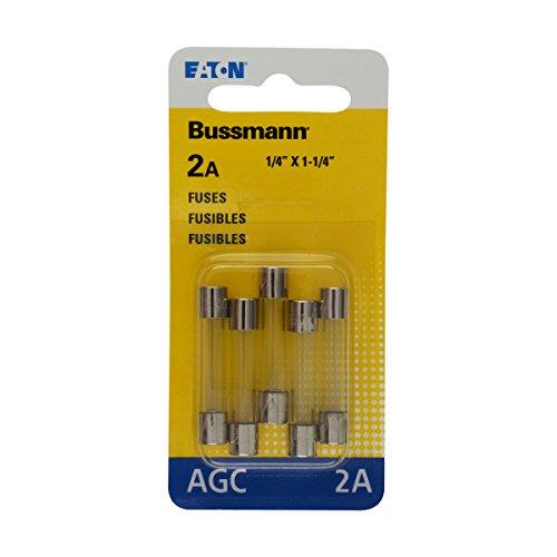Bussmann BP/AGC-2 2 Amp Fast Acting Glass Tube Fuse, 250V UL Listed Carded, 5-Pack