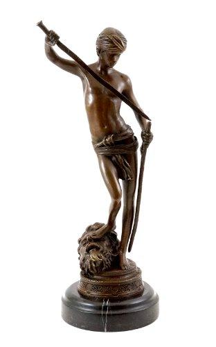 Kunst & Ambiente - Bronzestatue - David 1871 - signiert - Antonin Mercié Figur - Griechische Skulptur - Französischer Bildhauer und Maler - Bronze