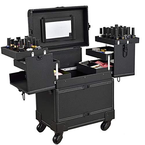 Maquillage Valise professionnel Trolley Bagages cosmétiques étuis avec 4 roue universelle et miroir haute capacité stockage Nail boîte de coiffure,1