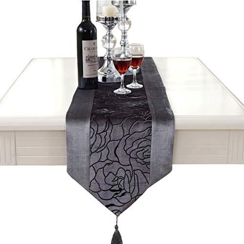 Camino de mesa de terciopelo bordado con flores de lujo., tejido, gris, 33 * 250cm