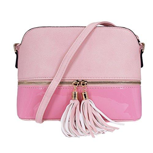 CRAZYCHIC - Damen Mittelgroße Umhängetasche - Schultertasche Mehrfarbig - Multi-Pocket Satteltasche - Messenger Bag Mit Quasten Fransen - Lackleder Tasche - Crossbody - Mode Casual Frau - Rosa