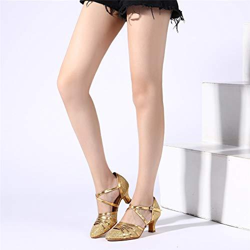 HROYL Damen Tanzschuhe/Latin Dance Schuhe Glattleder Ballsaal Modell-D5-511 Gold 40 EU - 9