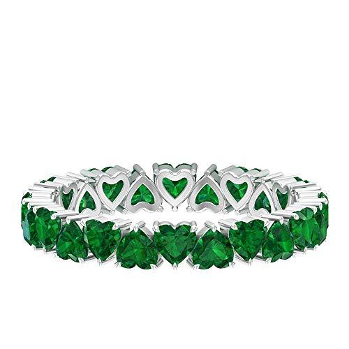 May-Geburtsstein-Ring, herzförmiger Ring, 2,4 Karat 3 mm Smaragd-Ewigkeitsring, Stapelring für Brautjungfern, Forever Love Ring, Jubiläumsgeschenk, Brautring, 14K Weißes Gold, Size:EU 67