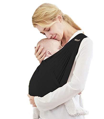 Fascia Porta Bambino 1st.Purchaser   Fascia Porta Bebè - Ergonomica - Marsupio Perfetto Per Neonati e Bebè fino a 15 Kg - Tessuto Leggero, Traspirante e molto resistente - Colore Nero (L)