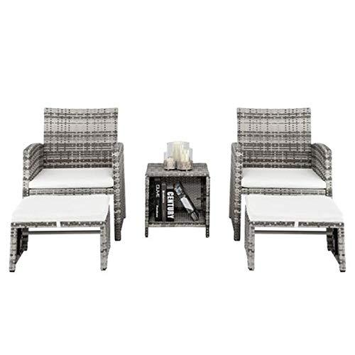 PHH 5pcs 2 sillas 2 reposapiés 1 Mesa de café combinación sofá Gris gradiente jardín sillas de jardín Conjunto