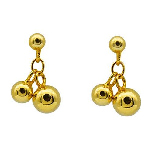 Onefeart Chapado en oro Pendientes de gota Para mujeres niñas Doble Redondo Pea Bean Forma Estilo sencilla 5MMx13MM Plata